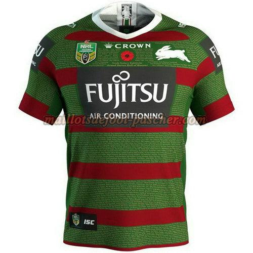 maillot rugby south sydney rabbitohs 2018 vert